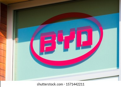 BYD logo on BYD Electronics America Corporation office in Silicon Valley - Cupertino, California, USA - 2019