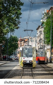 Bydgoszcz, Poland -  August 2017 : Public transport tram carrying passengers on the Dworcowa street