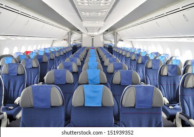 BYDGOSZCZ, POLAND - AUGUST 4: Interior of the New Boeing 787 Dreamliner during a training flight from Bydgoszcz to Wroclaw on August 4, 2013 in Western Poland.