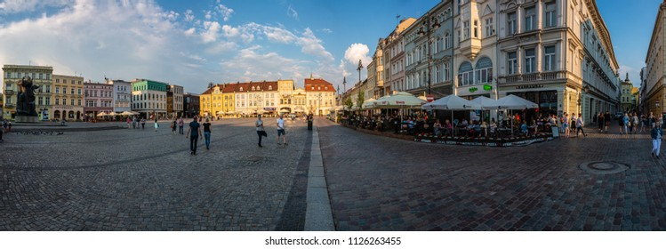 BYDGOSZCZ, POLAND - MAY 26, 2018: Super wide panoramic view on central market square in Bydgoszcz during sunset.