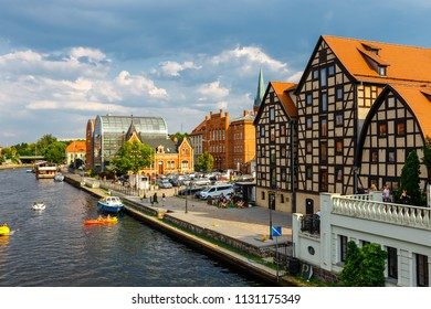 Bydgoszcz, Poland, May 31, 2018: The waterfront on the river Brda with famous granaries in Bydgoszcz, Poland