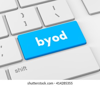 Byod keyboard key of a notebook computer, raster, 3d rendering