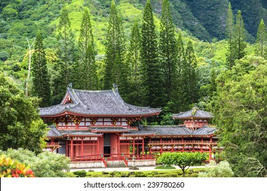 Byodo-In Temple sits at the foot of the Koolau mountains in the Valley of the Temples on Oahu, Hawaii