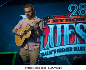 BYRON BAY, AUSTRALIA - APRIL 13 :Trevor Hall plays on the Mojo stage at the 2017 Byron Bay Bluesfest. 28th annual Blues and Roots festival.