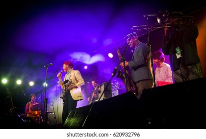 BYRON BAY, AUSTRALIA - APRIL 13 :The California Honeydrops plays on the Juke Joint stage at the 2017 Byron Bay Bluesfest. 28th annual Blues and Roots festival.