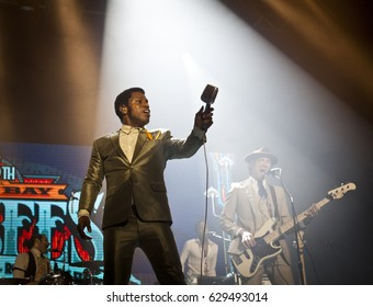 BYRON BAY, AUSTRALIA - APRIL 13 :Vintage Trouble plays on the Mojo stage at the 2017 Byron Bay Bluesfest. 28th annual Blues and Roots festival.