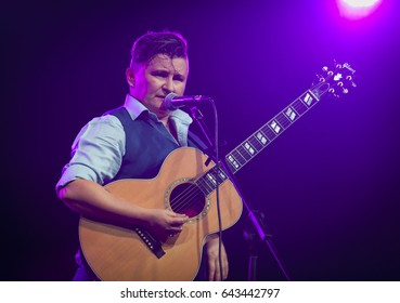 BYRON BAY, AUSTRALIA - APRIL 13 :Irish Mythen plays on the Delta stage at the 2017 Byron Bay Bluesfest. 28th annual Blues and Roots festival.