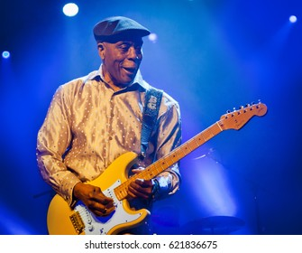 BYRON BAY, AUSTRALIA - APRIL 15 :Buddy Guy plays on the Crossroads stage at the 2017 Byron Bay Bluesfest. 28th annual Blues and Roots festival.