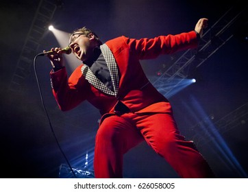 BYRON BAY, AUSTRALIA - APRIL 15 :Paul Janeway from St Paul & The Broken Bones plays on the Crossroads stage at the 2017 Byron Bay Bluesfest. 28th annual Blues and Roots festival.