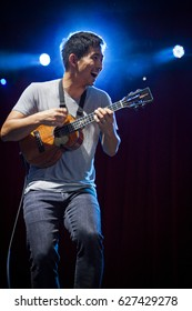 BYRON BAY, AUSTRALIA - APRIL 15 :Jake Shimabukuro plays on the Jambalaya stage at the 2017 Byron Bay Bluesfest. 28th annual Blues and Roots festival.