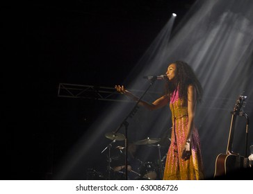 BYRON BAY, AUSTRALIA - APRIL 15 :Corinne Bailey Rae plays on the Mojo stage at the 2017 Byron Bay Bluesfest. 28th annual Blues and Roots festival.