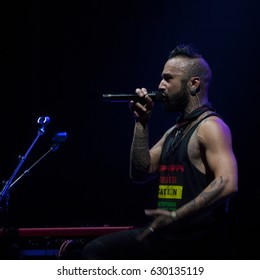 BYRON BAY, AUSTRALIA - APRIL 15 : Nahko and Medicine For The People plays on the Jambalaya stage at the 2017 Byron Bay Bluesfest. 28th annual Blues and Roots festival.