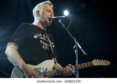 BYRON BAY, AUSTRALIA - APRIL 15 :Billy Bragg plays on the Crossroads stage at the 2017 Byron Bay Bluesfest. 28th annual Blues and Roots festival.