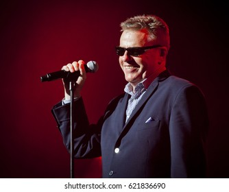 BYRON BAY, AUSTRALIA - APRIL 16 : Madness plays on the Mojo stage at the 2017 Byron Bay Bluesfest. 28th annual Blues and Roots festival.