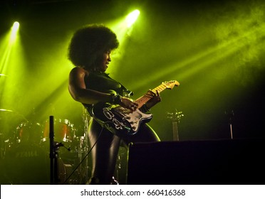 BYRON BAY, AUSTRALIA - APRIL 17 :Melody Angel plays on the Juke Joint stage at the 2017 Byron Bay Bluesfest. 28th annual Blues and Roots festival.