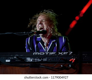 BYRON BAY / AUSTRALIA - APRIL 4 2015 : Paul Brown plays with Waterboys on the Crossroads stage at the Byron Bay Bluesfest. 26th annual Blues and Roots festival.