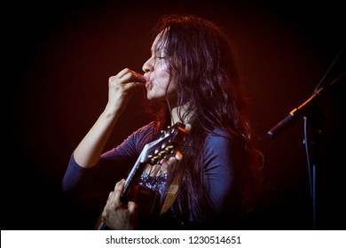 BYRON BAY, AUSTRALIA - APRIL 4 2015: Gabriela blows kiss on Crossroads stage at the Byron Bay Bluesfest. 26th annual Blues and Roots festival.