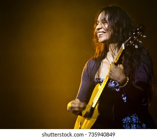 BYRON BAY, AUSTRALIA - APRIL 4 : Gabriela plays with Rodrigo on the Crossroads stage at the 2015 Byron Bay Bluesfest. 26th annual Blues and Roots festival.