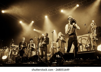 BYRON BAY, AUSTRALIA - APRIL 5 : Melbourne Ska Orchestra play on the Crossroads stage at the 2015 Byron Bay Bluesfest. 26th annual Blues and Roots festival.