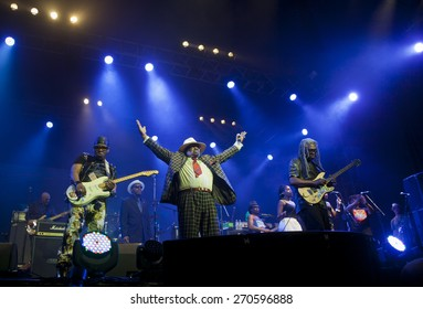 BYRON BAY, AUSTRALIA - APRIL 6 : George Clinton & Parliament Funkadelic play on the Mojo stage at the 2015 Byron Bay Bluesfest. 26th annual Blues and Roots festival.