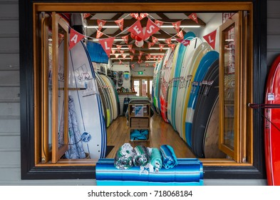 Byron Bay, Australia - July 10, 2017: surfboard shop in the popular seaside town of Byron Bay, known for its surf culture and also its retail businesses.