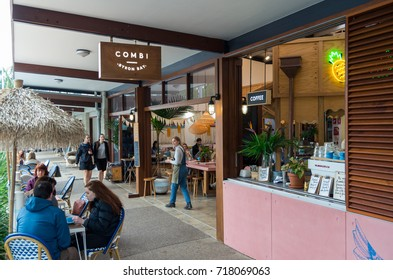 Byron Bay, Australia - July 10, 2017: Combi is a fashionable cafe in Byron Bay, a popular tourist destination on the New South Wales north coast.