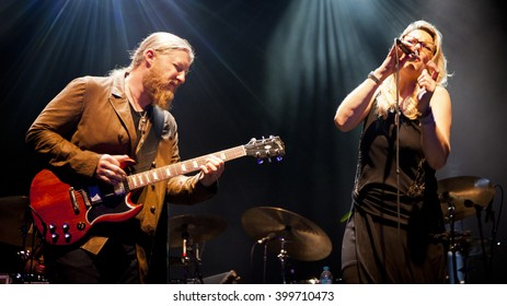 BYRON BAY, AUSTRALIA - MARCH 24 : Tedeschi Trucks Band plays on the Crossroads stage at the 2016 Byron Bay Bluesfest. 27th annual Blues and Roots festival.