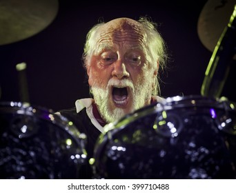 BYRON BAY, AUSTRALIA - MARCH 26 :The Mick Fleetwood Blues Band plays on the Crossroads stage at the 2016 Byron Bay Bluesfest. 27th annual Blues and Roots festival.