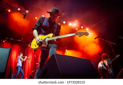 Byron Bay, New South Wales, Australia, April 15, 2017, Chase Makai with Nahko and Medicine For The People on the Jambalaya stage at the Byron Bay Bluesfest. 28th annual Blues and Roots festival.