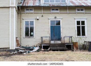 Byske, Vaesterbotten Sweden 05-25-2019. Abandoned house