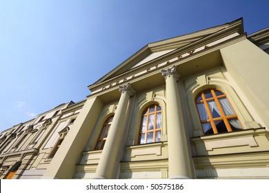 Bytom, Silesia region in Poland. Old beautiful architecture - Silesian Opera (Opera Slaska). Wide angle view.