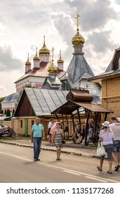 Byvalino, the Pavlovo-posadsky area, the Moscow region, Russia - July 15, 2018: Events at about XIII  Byvalinsky Festival of Forge Art, Temple of the Saint Great martyr Nikita