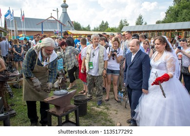 Byvalino, the Pavlovo-posadsky area, the Moscow region, Russia - July 15, 2018: Events at about XIII  Byvalinsky Festival of Forge Art