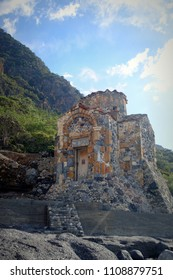 The Byzantine chapel of Agios Pavlos on the E4 trail between Agia Roumeli and Loutro on the shores of the Greek Island of Crete
