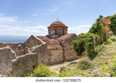 The Byzantine church of Agios Nikolaos in Mystras, Peloponnese, Greece.