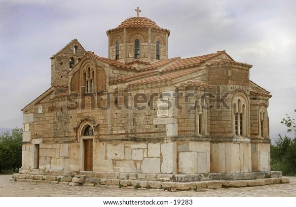 byzantine churh,taken in greece on a cloudy day,lots of detail