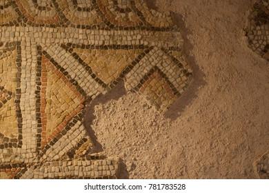 Byzantine floor mosaic. An ornament made of smalt slices.