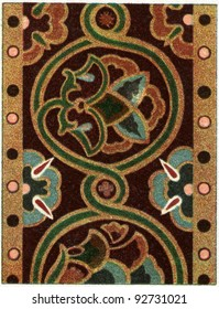 "Byzantine pattern on Damascus silk (11th century). Publication of the book ""Meyers Konversations-Lexikon"", Volume 7, Leipzig, Germany, 1910"