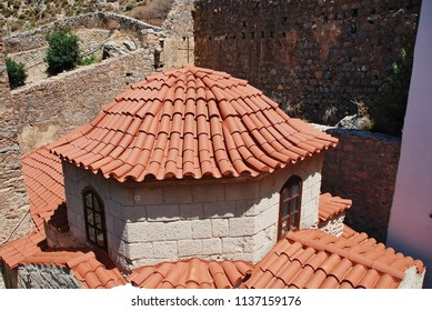 The Byzantine period monastery of Agios Panteleimon on the Greek island of Tilos. The monastery dates from around 1470.
