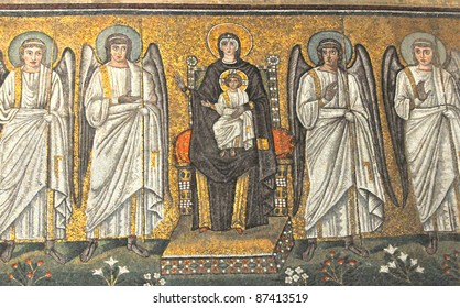 Byzantine UNESCO listed mosaic of the virgin Mary enthroned and flanked by 4 angels, with the infant Jesus on her knee, In the basilica of Saint Apollinaris, Ravenna, Italy