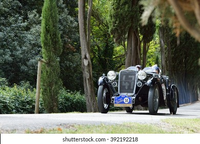 C. BERARDENGO (SI), ITALY - SEPTEMBER 19: A dark green Singer Le Mans takes part in the GP Nuvolari classic car race on September 19, 2015 near C. Berardengo. The car was built in 1934.