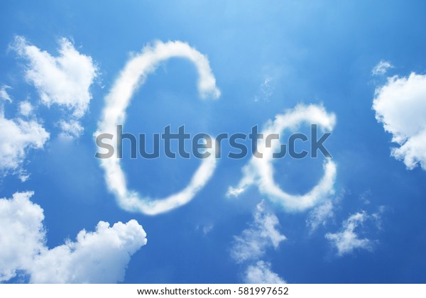 C clouds font calligraphy style ,hand written on sky background.