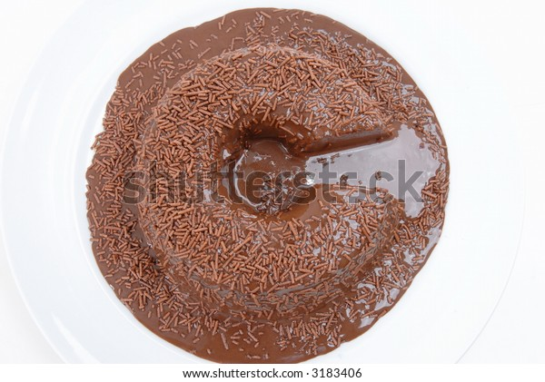 C of Copyright symbol Chocolate... Pudding of Chocolate with syrup and granulated chocolate