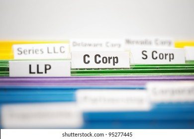 C Corporation, S corp and LLP business entities on file