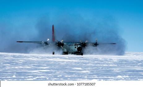 C130 at South Pole, Antarctica