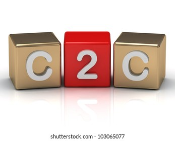 C2C Client to Client symbol on gold and red cubes on white background