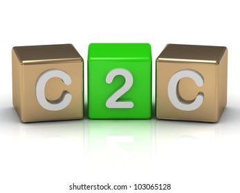 C2C Client to Client symbol on gold and green cubes on white background