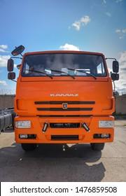 Cab KAMAZ-Russian manufacturer of trucks and engines. Sign of a KAMAZ truck. RUSSIA.Tatarstan. the city of Naberezhnye Chelny. August 8, 2019. КамАЗ Российская компания