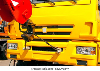 Cab of a truck with a crane front view