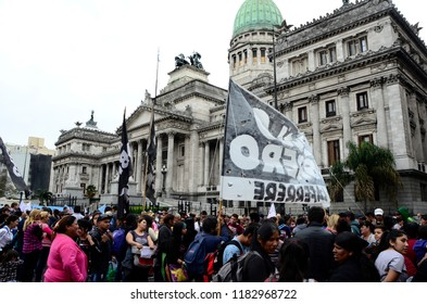 CABA, Buenos Aires, Argentina, 08-18-2018: Protest of workers in front of the Congress building